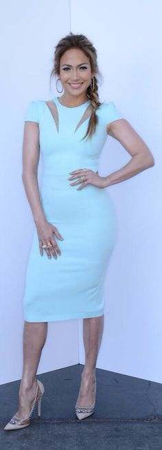 JLo in Safiyaa Cut Out Zip Ice Blue Dress