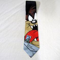 Looney Tunes Stamp Collection Funny Necktie Tie Taz Tasmanian Devil 1997 #LooneyTunes