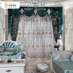 DIHIN HOME Luxurious Green Embroidered Valance,Blackout Curtains Grommet Window Curtain for Living Room Panel Window Drapes, Velvet Curtains, Grommet Curtains, Sheer Curtains, Blackout Curtains, Panel Curtains, Valance, Curtain Panels, Living Room Decor Curtains