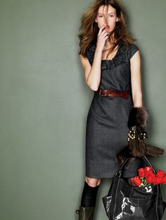 Black dress, brown belt.