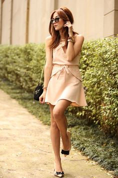 Rose quartz look in a girly outfit, wearing a cute top and skirt with lace…