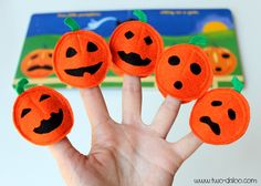 Five Little Pumpkins Finger Puppets - use teacup to trace two orange circles and one black circle, all of felt, for each pumpkin.