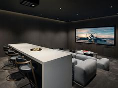 The property 58 Tuscaloosa Ave, Atherton, CA 94027 is currently not for sale on Zillow. Home Theater Room Design, Movie Theater Rooms, Home Cinema Room, Movie Theater Basement, Movie Rooms, Deco Cinema, Kitchen Family Rooms, Home Cinemas, Home And Family