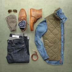 """""""Style is a simple way of saying complicated things."""" Jean Cocteau  Vest: @jcrew sussex quilted Boots: @rancourtco 1967 boot Socks: @americantrench random plate in cotton Denim: @rogueterritory slub sk Shirt: @bananarepublic Belt: @rancourtco Glasses: @rayban aviator"""