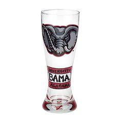 Alabama Crimson Tide NCAA Pair of Hand Painted 22oz. Pilsner Glass Set