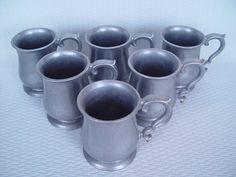 Pewter Renaissance Mugs/Tankards Set of 6 by GandTVintage on Etsy, $42.00