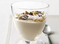 Peanut Butter Mousse Recipe : Food Network Kitchen : Food Network - This dairy-free dessert gets its creaminess from a surprise ingredient: silken tofu. Peanut Butter Mousse, Healthy Peanut Butter, Peanut Butter Recipes, Cashew Butter, Healthy Dessert Recipes, Delicious Desserts, Yummy Food, Healthy Meals, Healthy Food