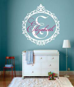 Custom Name Decal - GirlsTeen Bedroom - Nursery Name Decal - Large Monogram Vinyl Wall Decal - Script Elegant Shabby Chic Design - WD0054