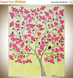Easter Love Birds pink flowers wall art wall decor Wall