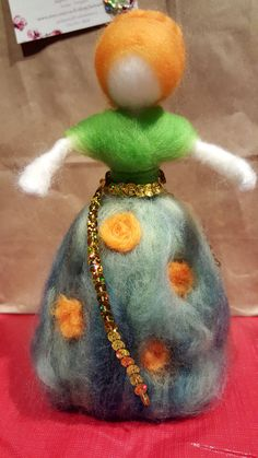 Needle felted sculpture doll poupée waldorf style nursery