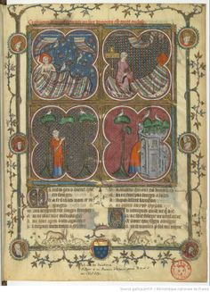 A comic book narrative sequence from Roman de la rose - 1352 - Bibliothèque nationale de France, Département des manuscrits, Français 1565