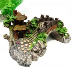 Aquarium Classical Bridge Decoration Fish Tank Resin Rock Ornament Pavilion Tree