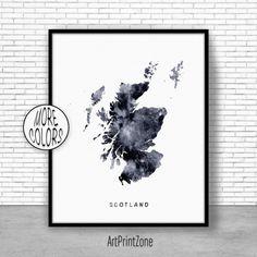 Scotland Print Watercolor Map Scotland Map Art Map