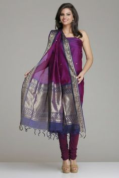 Self-Striped Orange And Pink Kora Silk Unstitched Suit With Dull ...