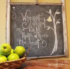 chalkboard art - quote and the tree