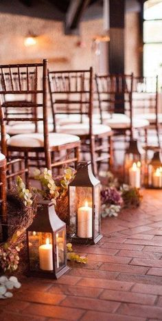 Love the idea of lanterns for a Fall wedding -- could be a great idea for ceremony or centerpieces at reception!