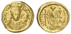 JUSTINIANUS I., 527-565, Solidus, Offizin B, Aversum: helmeted head-bust with spear and shield, reverse: Victoria stands frontallyly with long cross and orb, right star, Sear 137, Ratto compare 462.4. 24 g, very fine    Dealer  Auction house Ulrich Felzmann    Auction  Minimum Bid:  250.00EUR