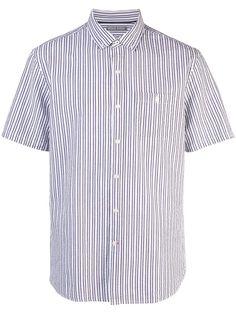 Michael Bastian Astral Aura Shirt In White Michael Bastian, Collar Styles, Stripe Print, Size Clothing, Shirt Designs, Women Wear, Short Sleeves, Men Casual, Mens Tops