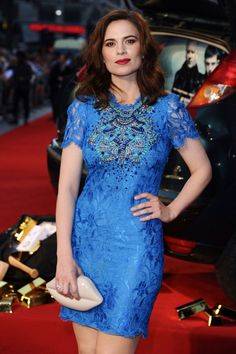 Hayley Atwell in a blue dress Hayley Atwell, Hayley Elizabeth Atwell, Beautiful Celebrities, Beautiful Actresses, Beautiful People, Beautiful Women, Hailey Baldwin, Haley Lu Richardson, Peggy Carter