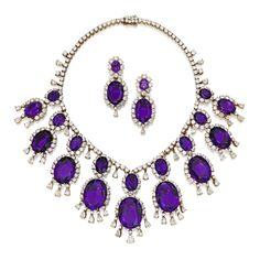 van cleef and arpels amethyst and diamond necklace and a pair of earrings