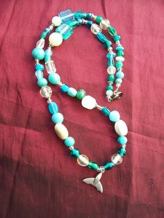 Under the Sea Handmade Necklace with Whale Tail by ReprievesCorner, $19.99