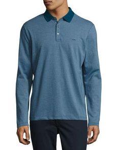 Long-Sleeve Cotton Polo Shirt, Storm Blue