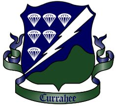 Coat of Arms - Shield - The blue field is for the Infantry, the 506th's arm of the service. Thunderbolt indicates the regiment's particular threat and technique to attack: striking with speed, power, and surprise from the sky. Six parachutes represent the fact that the 506th was in the sixth parachute regiment activated in the Army. The green silhouette represents the Currahee Mountain - and symbolizes the organization's strength, independence, and ability to stand alone