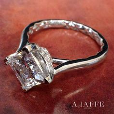 A.JAFFE Simple Princess Cut Quilted Engagement Ring (style ME1847Q). Info and PRICE at http://www.ajaffe.com/simple-princess-cut-quilted-engagement-ring-me1847q  #bridetobe #bridestyle #modernbride #ajaffe #engagementrings #bridalguides #engagement