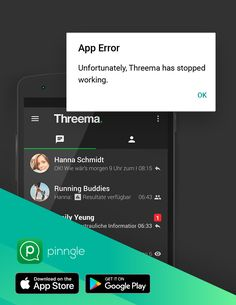 Having problems with the messenger Threema? Find out common issues reported by users, and what you can do to avoid them here. What You Can Do, How To Get, Running Buddies, Free Message, The Messenger, App Store Google Play, Stop Working, Explain Why