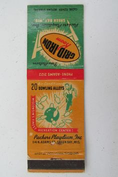 Packers Playdium Green Bay Wisconsin Don Hutson 20Strike Bowling Matchbook Cover