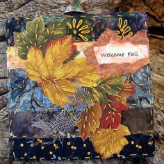Miniature Fall Art Quilt, Hand Stitched Quilt, Welcome Fall Quilt,... ($30) ❤ liked on Polyvore featuring home, bed & bath, bedding, quilts and leaf bedding
