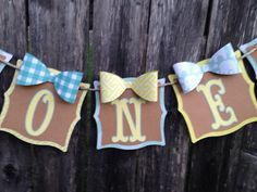 Boy 1st birthday banner. Bow tie party banner. One banner. Little man party decoration. on Etsy, $12.00