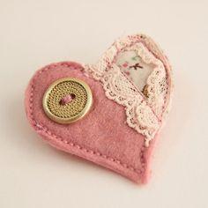 Pretty in pink heart felt brooch by malaikahummingbird