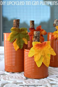 These DIY Upcycled Tin Can Pumpkins are easy to make. And there's a good chance you have everything for these rustic pumpkins at home.