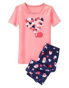 Gymboree Girls 18-24M 2T Elephant Love Print Cotton Shortie Pajama Set NWT  #Gymboree #TwoPiece