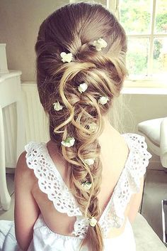 18 Cute Flower Girl Hairstyles ❤️ Here you find some simple flower girl hairstyles and more complex which made by a professional. See more: http://www.weddingforward.com/flower-girl-hairstyles/ #wedding #hairstyles #flowergirl