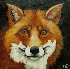 Fox painting 10 12x12 inch original animal portrait oil by RozArt, $95.00