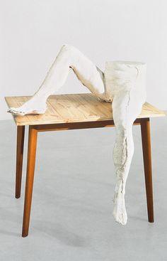 Sarah Lucas - You Know What, 1998, Plaster, cigarette and table 85.1 x 78.7 x 94 cm