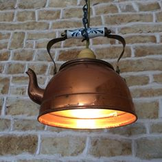 Old Fashioned Copper Kettle Light Pendant Hanging Teapot Lamp Vintage Antique Cottage Kitchen Light by LampsAndLeaves on Etsy