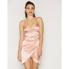 Nly One Wrap Satin Dress (£38) ❤ liked on Polyvore featuring dresses, champagne, party dresses, womens-fashion, wrap dress, wrap style dress, satin cocktail dress, zipper dress and tall dresses
