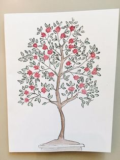 """Hand painted watercolor greeting card- Blooming tree. Original, hand drawn on card stock. Inside of card is left blank for your personalized message. Measures 5.5""""x4"""" and comes with white blank envelope and protected by cellophane package and sent in a rigid mailer to ensure safety.  Materials:  Watercolor Paint and Ink"""