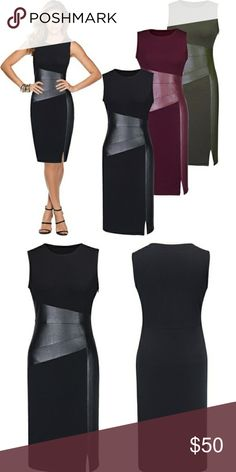"Sexy black BodyCon faux leather dress All eyes will definitely be on you when you walk into a room in this dress!  This beautiful bodycon dress, has faux leather on midsection and left side.   Dress has some stretch.   Dress has a side zip and little split by left knee. The dress is knee length. Full length 39"" Dresses"