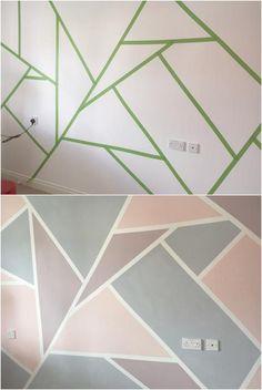 Geometric Mural: interior design is so sublime color . : Geometric Mural: interior design is so sublime color . Bedroom Wall Designs, Room Ideas Bedroom, Diy Bedroom, Girls Room Paint, Girl Room, Tape Wall Art, Geometric Wall Paint, Room Wall Painting, Cute Room Decor