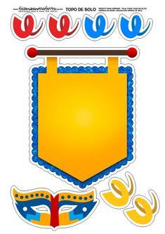 Topo de bolo Carnaval Amarelo e Azul