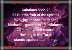 Galatians 5:22-23 22 But the fruit of the Spirit is love , joy , peace , patience , kindness , goodness , faithfulness , 23 humility, self control. Nothing in the Torah stands against such things.