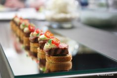 Cold Canape - Sous vide fillet of beef with rocket pesto, soused tomberry and a tarragon and pink peppercorn mayonnaise