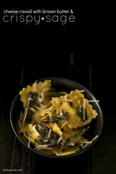 cheese ravioli with brown butter and crispy sage