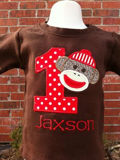 OMG perfect for our Sock Monkey theme!!! First Birthday shirt!