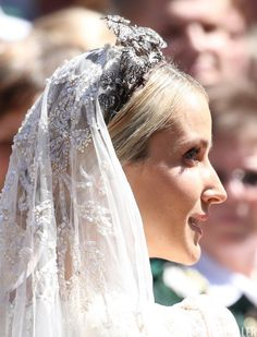 courtjeweller: Wedding of Prince Ernst August Jr of Hanover and Ekaterina Malysheva, Hanover Market Church, July 8, 2017-A side view of the Hanover Floral Tiara and the heavily embroidered and beaded veil worn by the bride