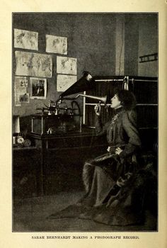 """""""Sarah Bernhardt making a photograph record.""""  The Boy's Book of Inventions. Roy Stannard Baker, 1908."""